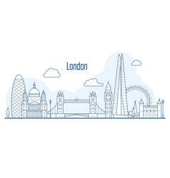 London city skyline - cityscape with landmarks vector