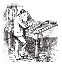 man writing or standing at a writing desk vintage vector image