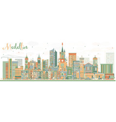 Medellin skyline with color buildings vector