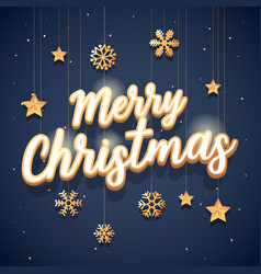 merry christmas text with elegant vector image