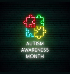 neon colorful puzzle autism awareness month vector image
