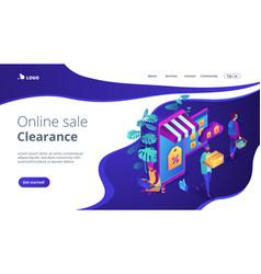 online discount store concept isometric 3d landing vector image