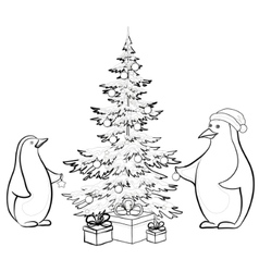 penguins and christmas vector image