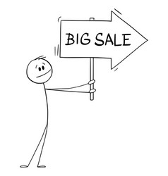 Person or businessman holding big sale arrow sign vector