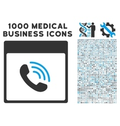 Phone Call Calendar Page Icon With 1000 Medical vector