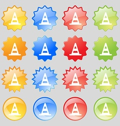 Road cone icon sign Set from sixteen multi-colored vector