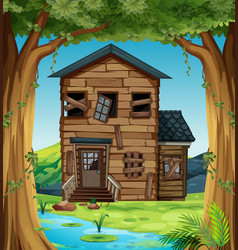 Ruined house in woods vector