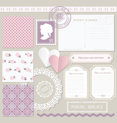 Scrapbook set with different elements vintage vector