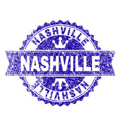 Scratched textured nashville stamp seal with vector