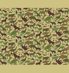 Seamless camouflage pattern with animals for kids vector