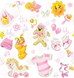 Seamless pattern of pink clothing toy and stuff vector