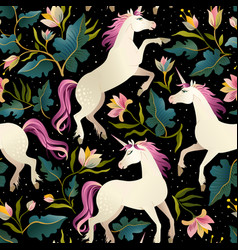seamless pattern with beautiful unicorns magic vector image vector image