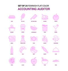 Set of 25 feminish accounting auditor flat color vector
