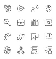 set of money concept icons in outline style vector image