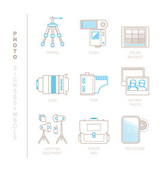 Set of photography icons and concepts in mono vector