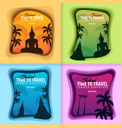 Set of thailand banners time to travel paper cut vector