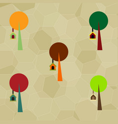 Set of trees with bird house vector