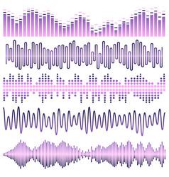 set of violet sound waves vector image