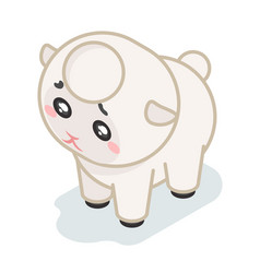 Sheep cub isometric 3d cute beef baby animal vector