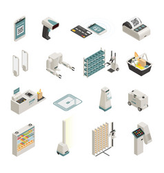 Shopping technologies isometric icons set vector
