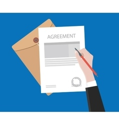 sign agreement contract on paper document vector image