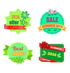 summer sale 2018 emblems set with tropical plants vector image