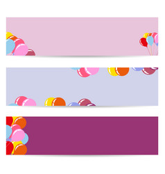 Three posters with air balloons empty flyers vector