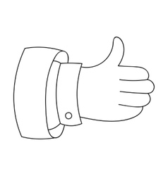 Thumb up icon in outline style isolated on white vector