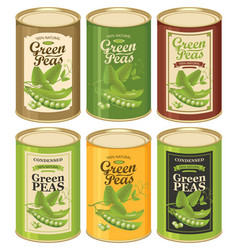 Tin cans with various labels for canned green pea vector