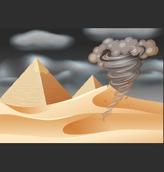 Tornado in desert scene vector