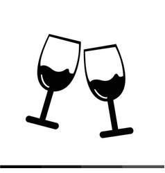 two glasses of wine or champagne icon design vector image