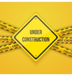 Under Construction Background with Yellow vector