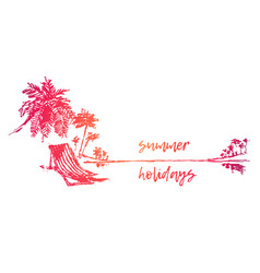 vacation sea beach summer holidays sketch vector image