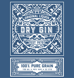 vintage gin label layered vector image