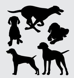 Vizsla dog animal action silhouette vector