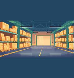 Warehouse interior logistics cargo delivery vector