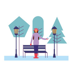 woman with winter clothes in the park vector image