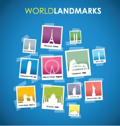 World landmarks blue vector