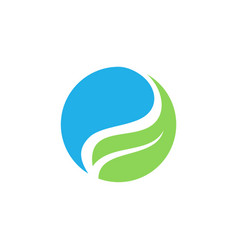 circle ecology water leaf logo vector image vector image