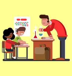 kids in chemical classes vector image