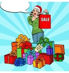 Pop Art Woman with Shopping Bag Christmas Sale vector image vector image