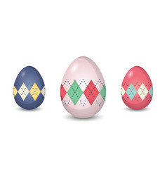 Set of argyle pattern painted easter eggs vector