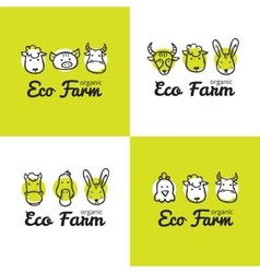 set of cute eco farm logos in doodle style vector image vector image