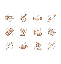 Simple color line icons for brass music vector image