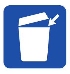 blue white information sign - trashcan icon vector image
