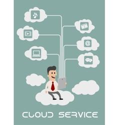 Businessman enjoying cloud computing vector image