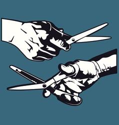 hand with scissor graphics vector image