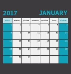 January 2017 calendar week starts on Sunday vector image