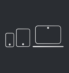 modern electronic devices on dark background line vector image