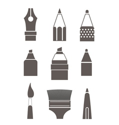 Paint and writing tools silhouettes collection iso vector image vector image